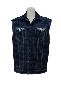 Denim vest with machine embroidery