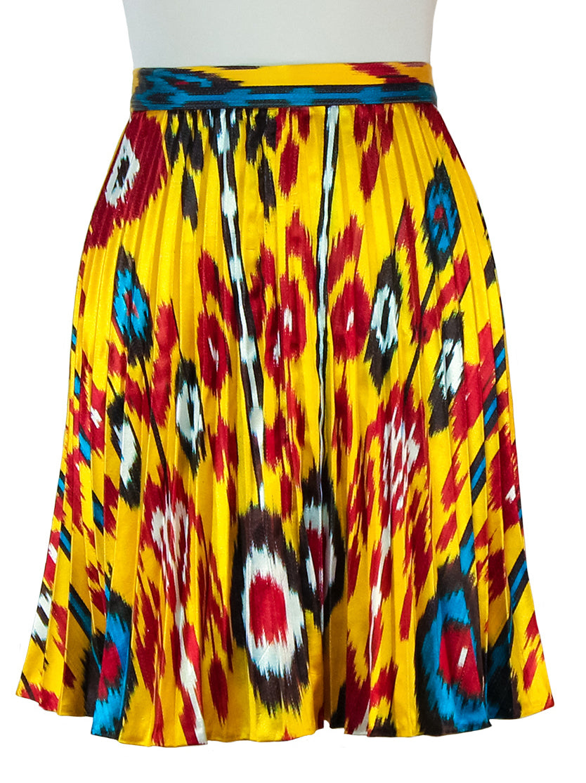 Pleated Ikat midi skirt