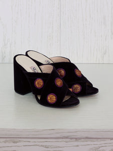Mules with 3D Handmade Embroidery - Velvet