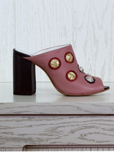 Mules with 3D Handmade Embroidery - Pink leather