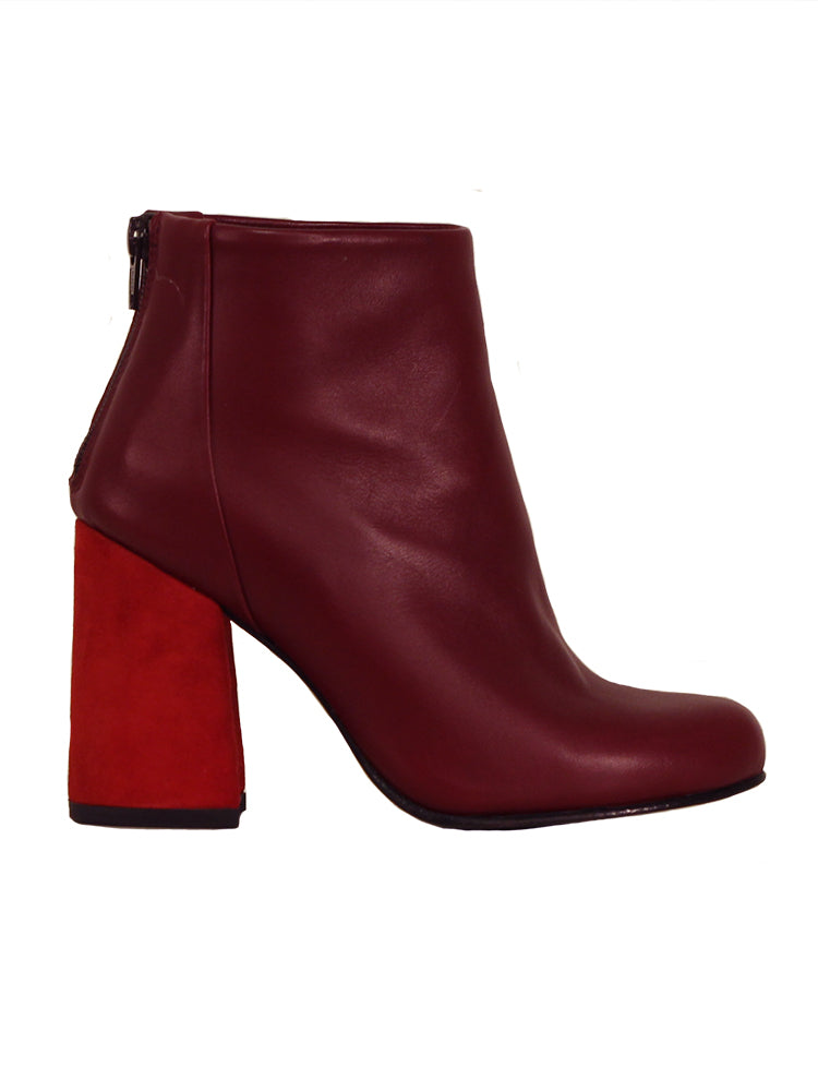 Red leather ancle boots