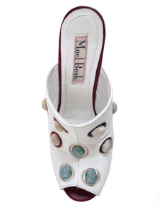 Mules with 3D Handmade Embroidery - White leather