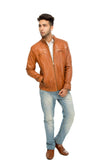 Washed leather jacket men