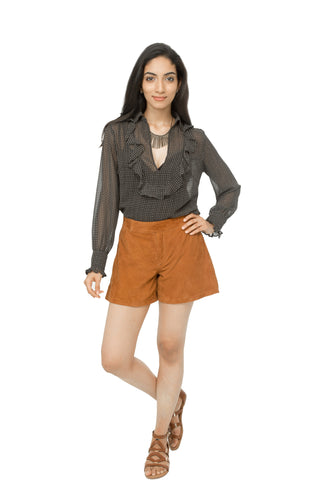 Leather suede shorts