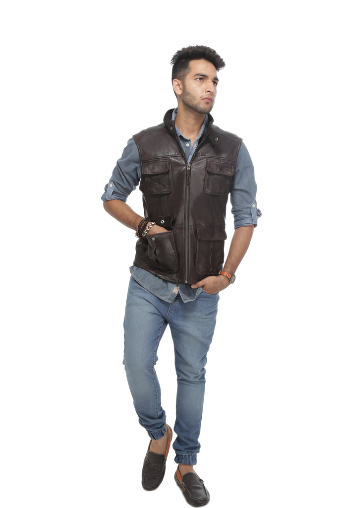 6-Pocket-Sleeveless-Vest-Dark-Brown