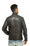 Black zip pocket leather jacket