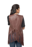 Geometric fringe leather jacket