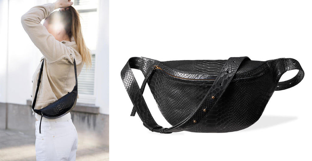 Black leather fanny pack 'Niki' with python print