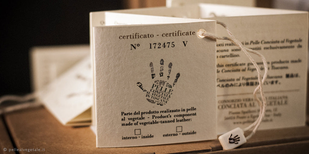 Italian trademark for luxury vegetable tanned leather