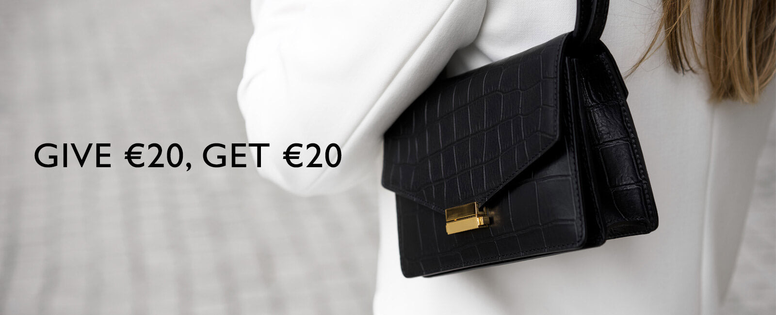 Black croco leather mini bag with gold lock DAPHNY RAES