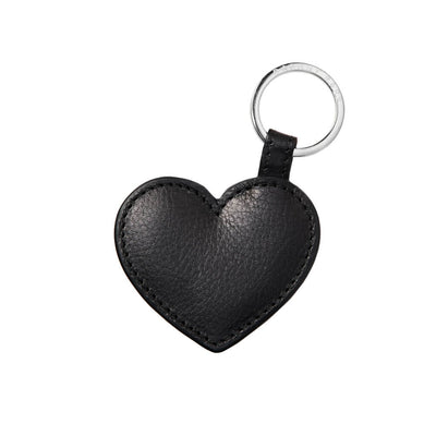 Personalized black leather heart keychain