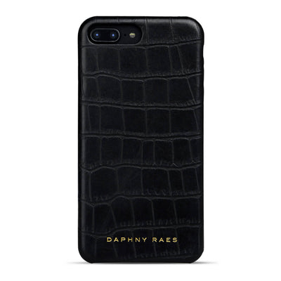 Black crocodile print leather iphone 7+ case with logo DAPHNY RAES
