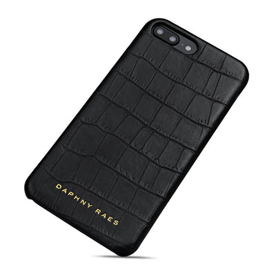 Black leather iphone 7+ case with crocodile print DAPHNY RAES