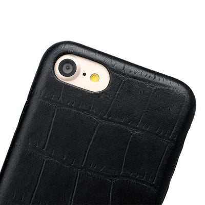Detail of black crocodile leather iphone 7 case DAPHNY RAES