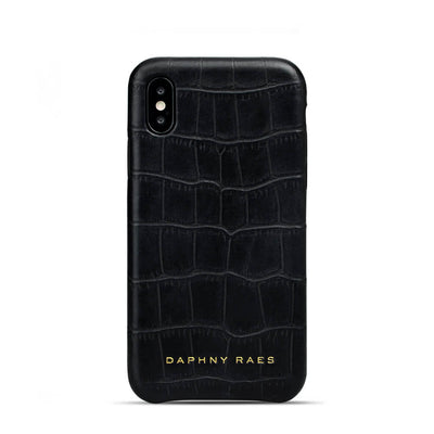Black croco leather iphone X(s) case with crocodile print DAPHNY RAES