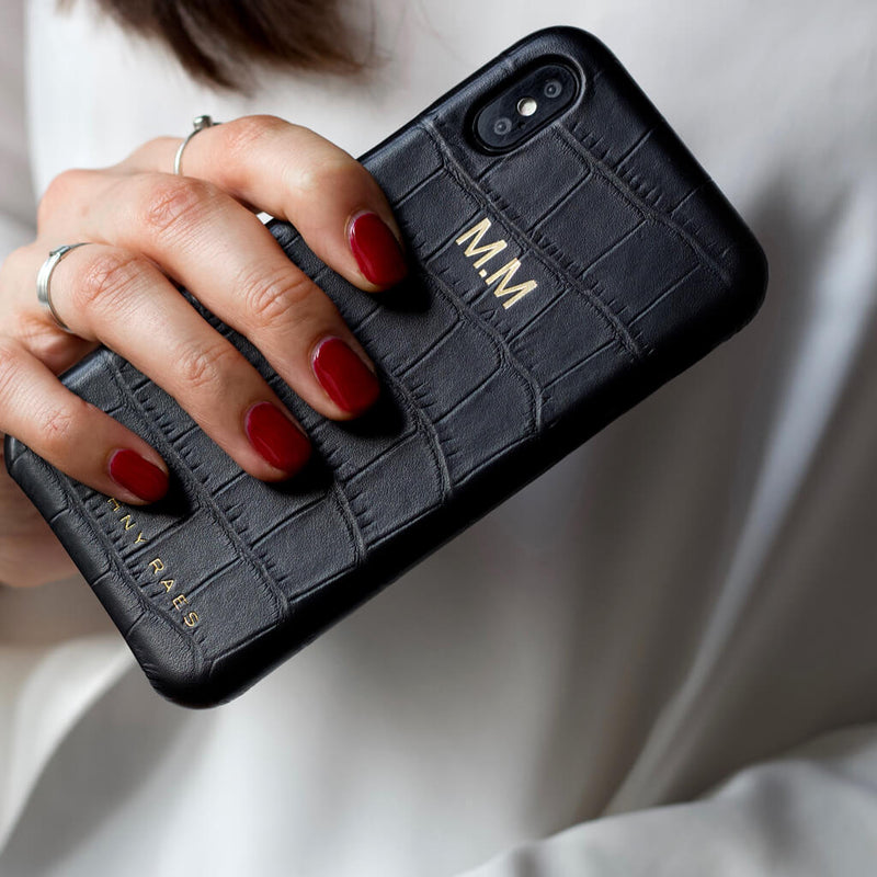 iPhone X and Xs case 'Chloë' black croco