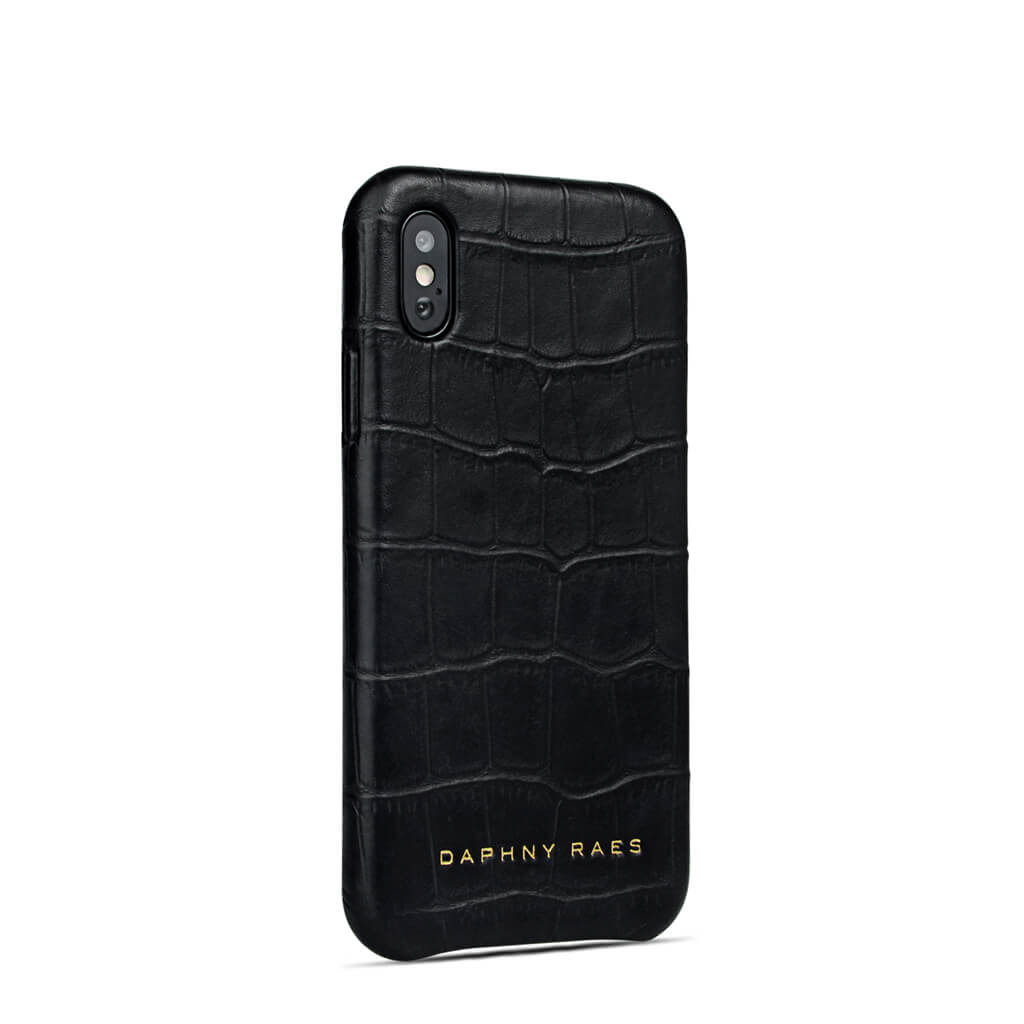 a837be2c0e Luxury black leather iphone X(s) case with crocodile print DAPHNY RAES