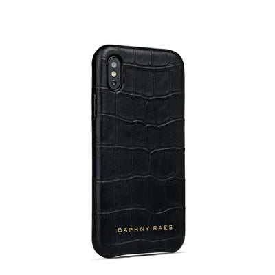 Luxury black leather iphone X(s) case with crocodile print DAPHNY RAES