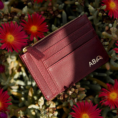 Slim burgundy leather women's zipper wallet with monogram DAPHNY RAES