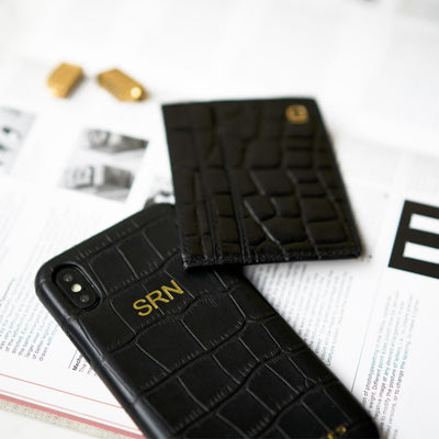 Monogrammed black crocodile leather iphone X(s) case and card holder with initials DAPHNY RAES