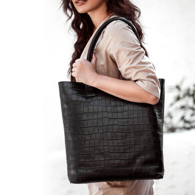 Large crocodile print leather tote bag DAPHNY RAES