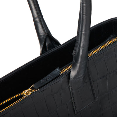 Black crocodile print leather laptop tote bag detail DAPHNY RAES