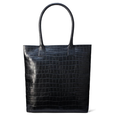 Black crocodile print leather laptop tote bag DAPHNY RAES