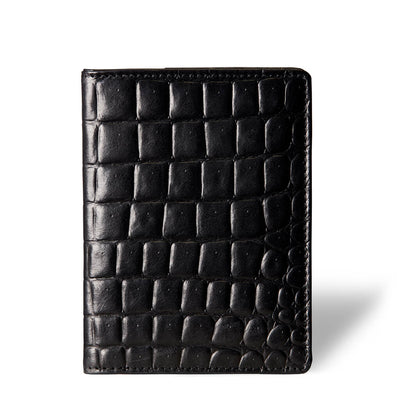 Luxury vegetable tanned leather passport holder black crocodile print DAPHNY RAES