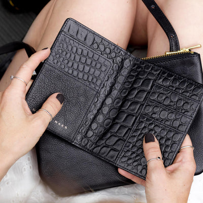 Personalized leather passport holder black crocodile print and multiple card slots DAPHNY RAES