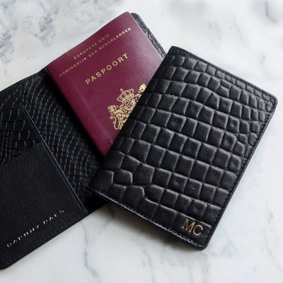Monogrammed leather passport holder black crocodile print with initials DAPHNY RAES