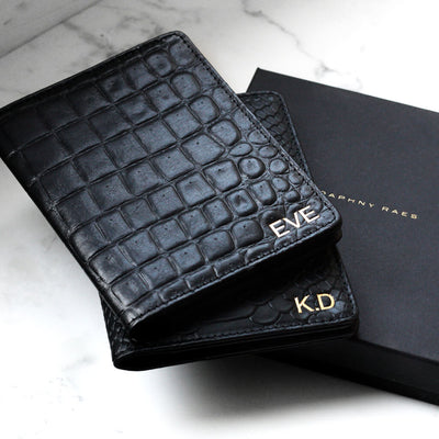 Personalized leather passport holder black crocodile print with monogram DAPHNY RAES