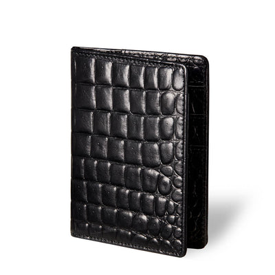 Luxury black croco print vegetable tanned leather passport holder DAPHNY RAES