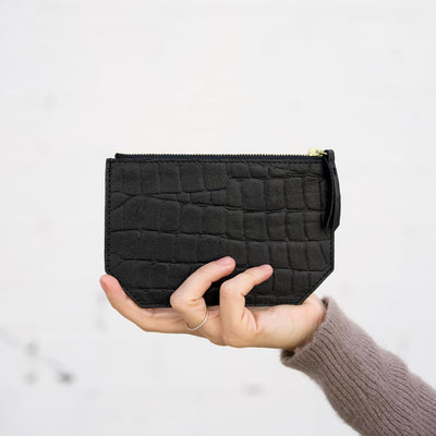 Personalized black croco print leather coin holder DAPHNY RAES