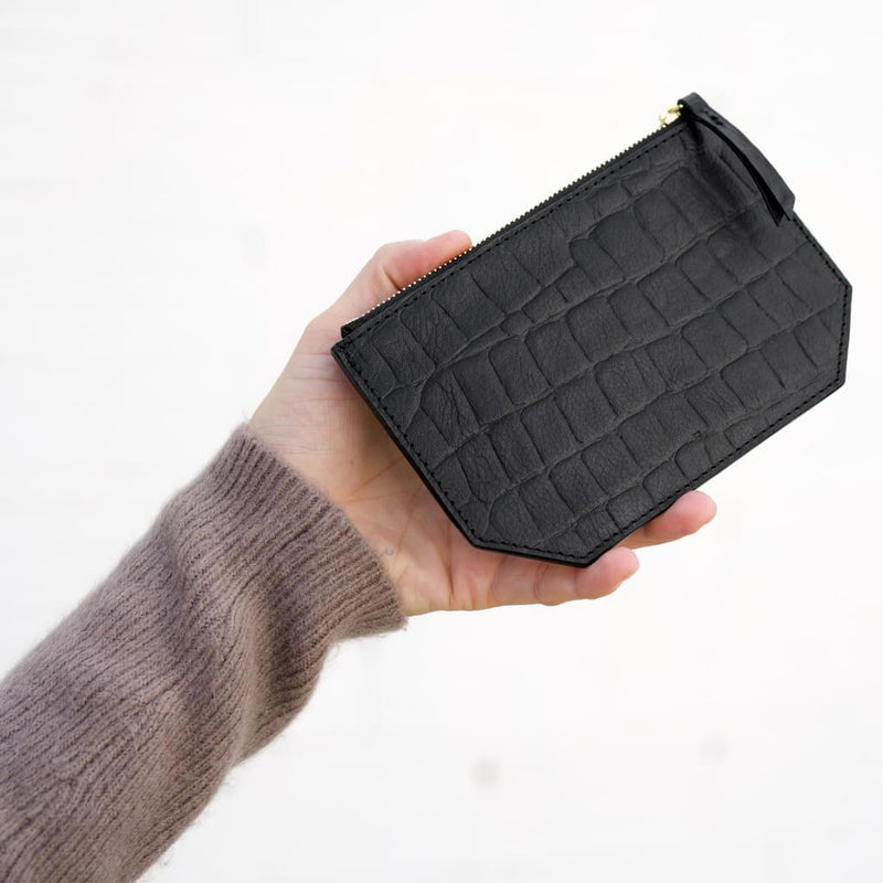 Coin holder 'Liv' black croco