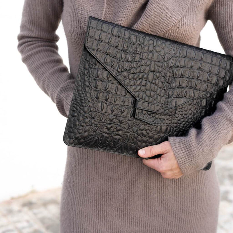 Black croco print leather laptop sleeve MacBook DAPHNY RAES