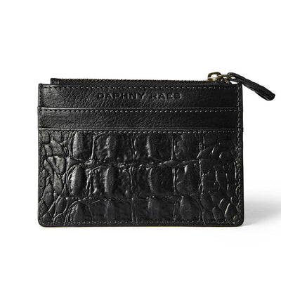 Slim black leather women's zipper wallet croco print with multiple card slots DAPHNY RAES