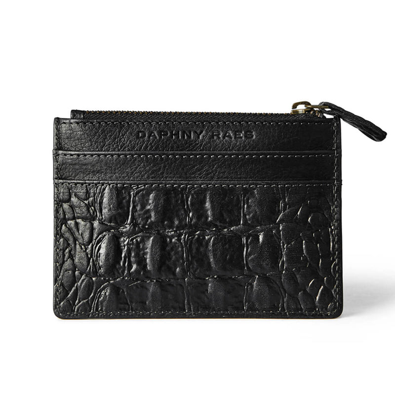 Small black leather women's zipper wallet croco print with multiple card slots DAPHNY RAES