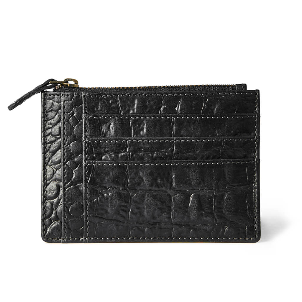 Wallet 'Jack' black croco | antique gold