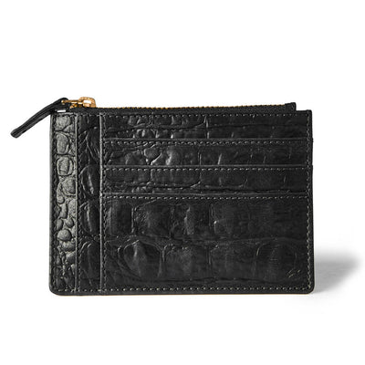 Small leather women's zipper wallet black crocodile print with multiple card slots DAPHNY RAES