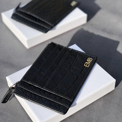 Gold foil initians on black croco print leather women's zipper wallet DAPHNY RAES