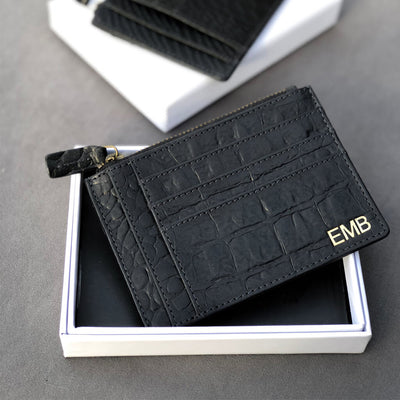 Monogrammed black croco print leather zipper wallet with initials DAPHNY RAES