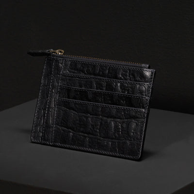 Personalized black croco print leather women's zipper wallet with initials DAPHNY RAES