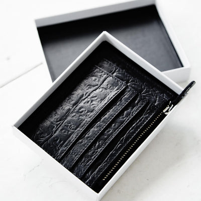 Small black croco print leather women's zipper wallet with multiple card slots DAPHNY RAES