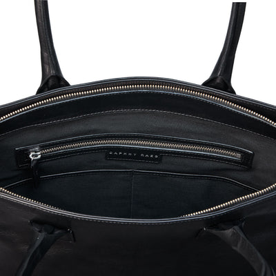 Black leather laptop tote bag lining DAPHNY RAES
