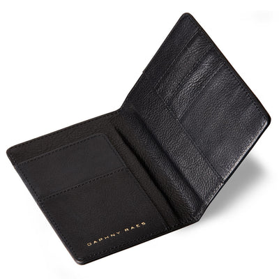 Luxury black vegetable tanned leather passport holder with boarding pass slot DAPHNY RAES