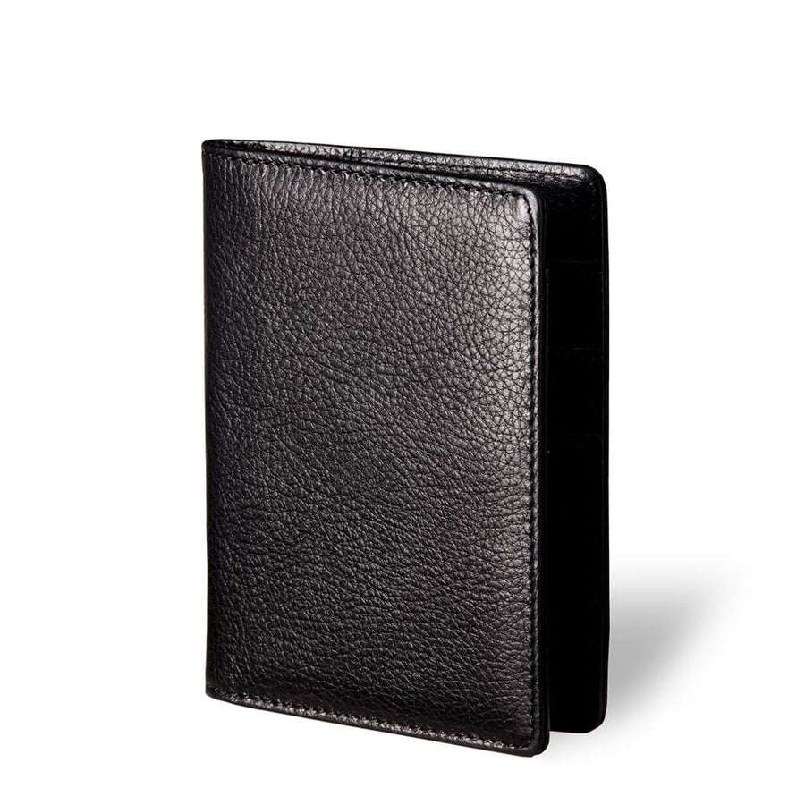 Luxury black vegetable tanned leather passport holder DAPHNY RAES