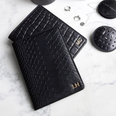 Personalized leather passport holder black python snake print with monogram DAPHNY RAES