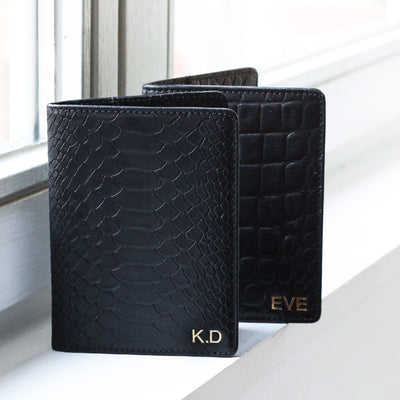 Monogrammed leather passport holder black python snake print with initials DAPHNY RAES