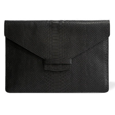 Black python print leather laptop sleeve MacBook DAPHNY RAES