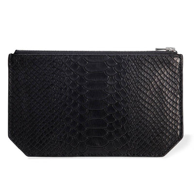 Personalized small black python print leather pouch DAPHNY RAES